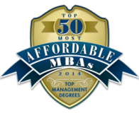 MBA: Ranked #1 – Top 50 Most Affordable MBAs 2014 badge
