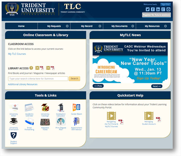 TLC Portal screenshot