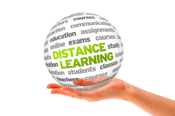Photo representing distance learning or online education for military students.